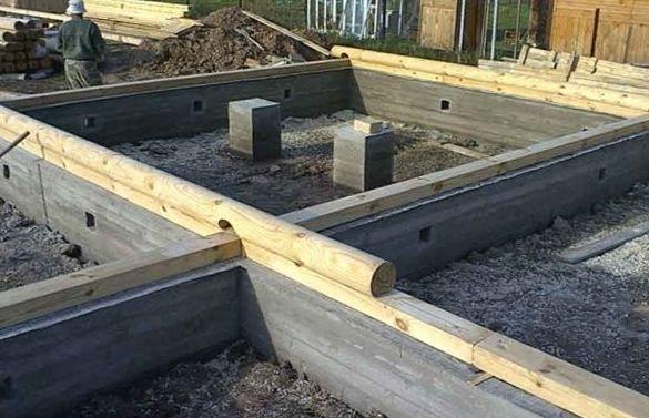 Ленточный мелкозаглубленный фундамент для дома из бруса