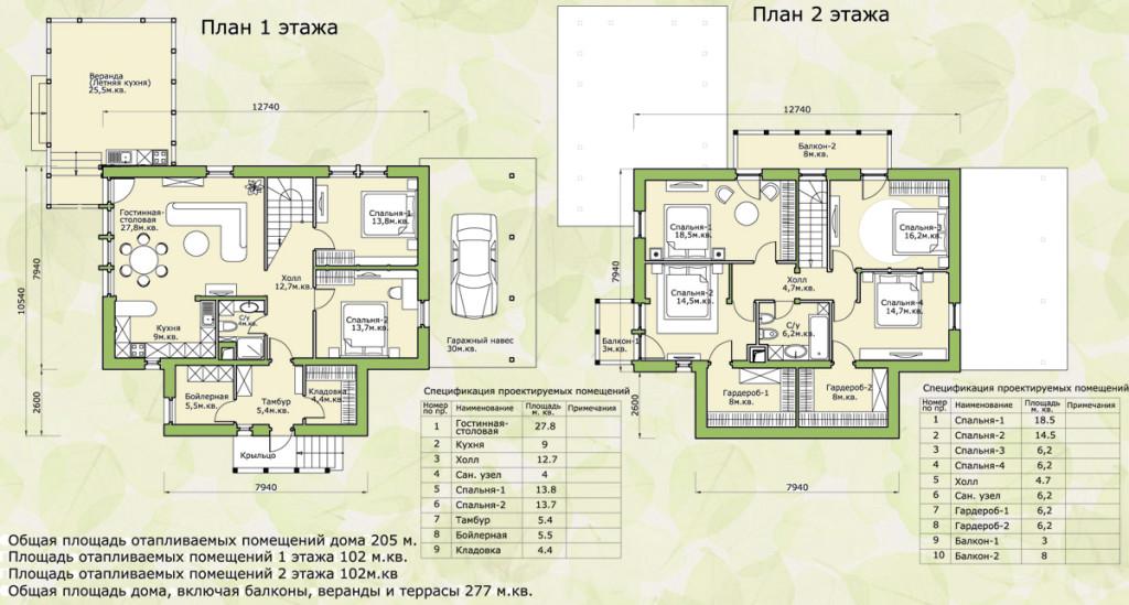 Первый и второй этаж загородного дома