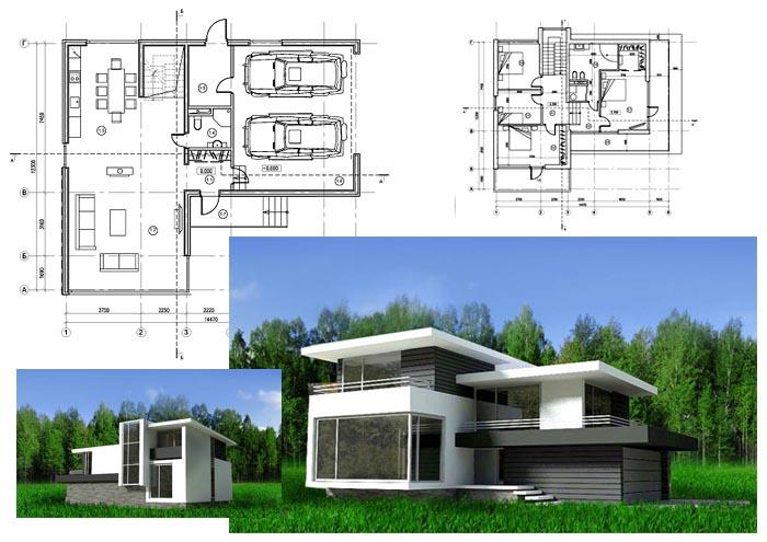 Фасад загородного дома с планировкой