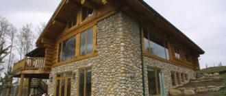 Дом из дерева и камня