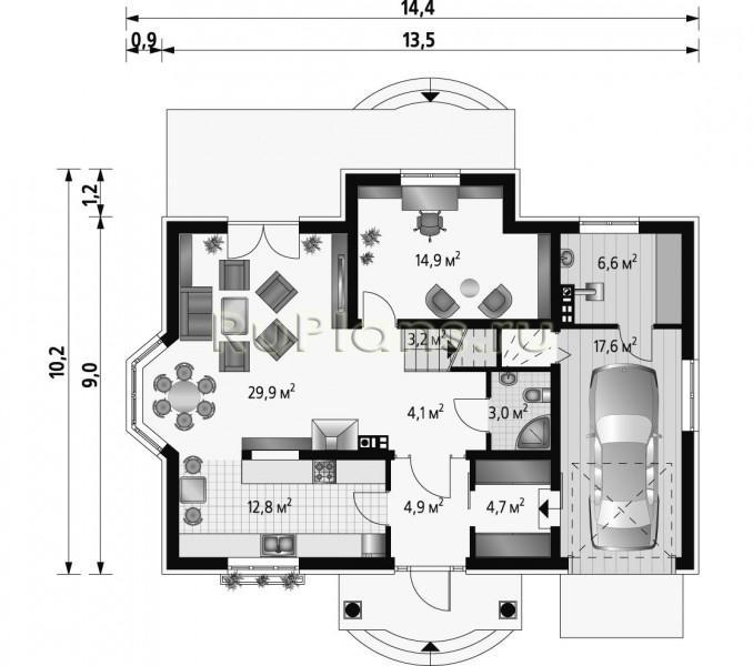 Одноэтажный коттедж проект