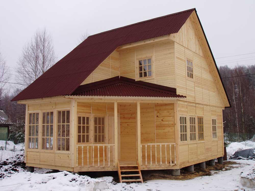 щитовой дом зимой